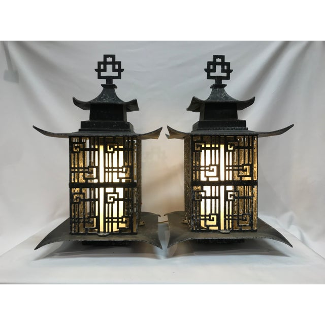 Asian Pagoda Outdoor Metal Chinese Lattice Patterns Wall Sconces- a Pair For Sale - Image 10 of 10