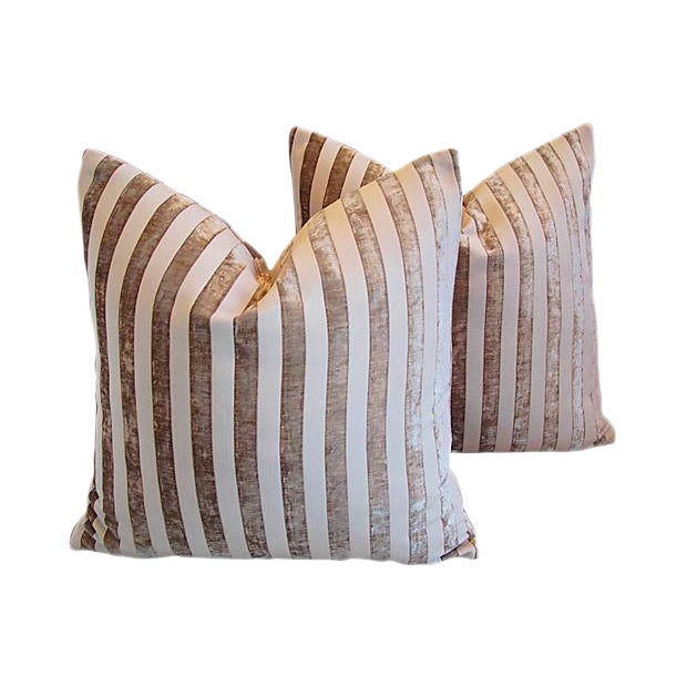 "Designer French Velvet Striped Feather & Down Pillows 24"" Square - Pair For Sale In Los Angeles - Image 6 of 8"