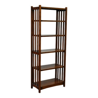 Crafters and Weavers Mission Spindle Side 4 Shelf Bookcase Walnut (W1) For Sale