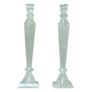 Pair of Rock Crystal Tall Candlesticks For Sale