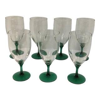 Vintage Juniper Green Stem Glasses - Set of 7 For Sale