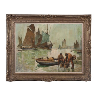 Dutch Harbor Scene Oil Painting on Panel For Sale