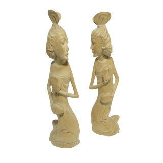 Pair of Vintage Hand Carved Wood Female Figures Statuary