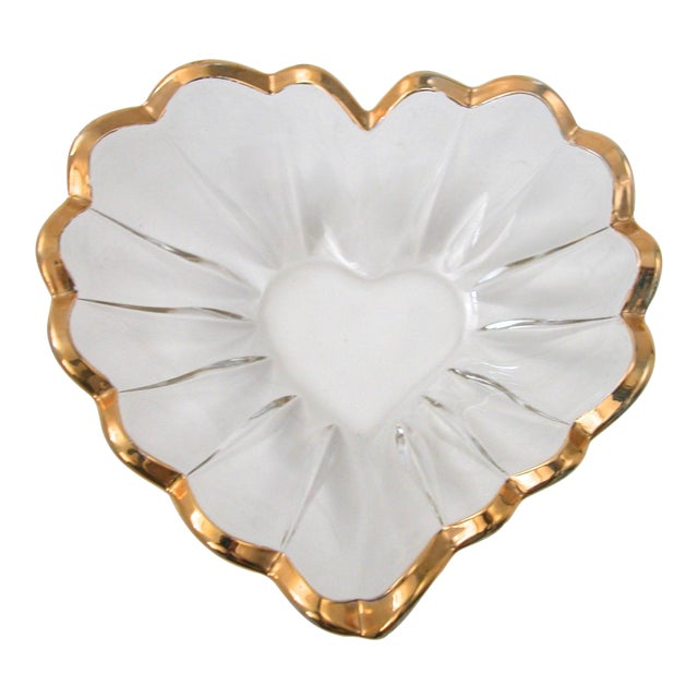 Glass and Gold Heart Dish - Image 1 of 9