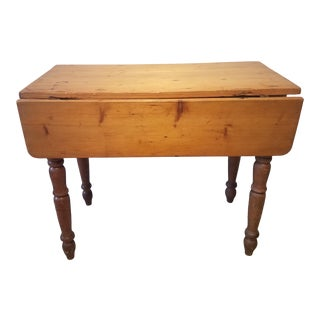 Antique Pine Small Drop-Leaf Farm Table With Drawer For Sale
