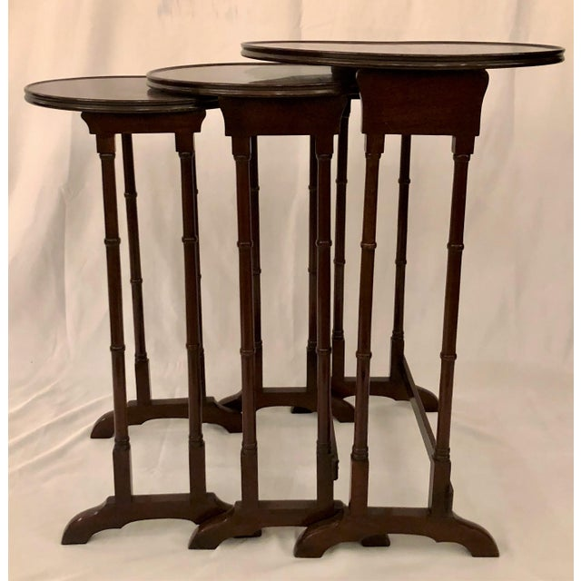 Brown Antique English Mahogany Nest of Tables With Delicate Inlay. For Sale - Image 8 of 8