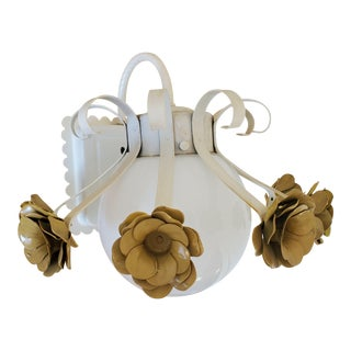 Vintage Metal Flower Power Wall Light With White Globe For Sale