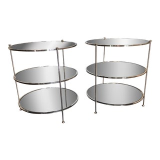 Worlds Away 3-Tier Nickel Table With Mirrored Shelves - Set of 2