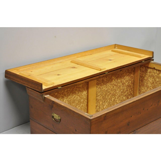 Metal Large Vintage Knotty Pine Wood Blanket Chest Trunk Storage For Sale - Image 7 of 12
