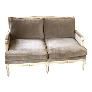 Vintage Mid Century Upholstered and Cane Settee For Sale