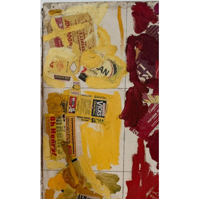 Canvas Mid Century Painting, Collage - Labels For Sale - Image 7 of 10