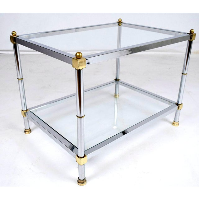 Hollywood Regency Vintage Mid Century Modern Chrome And Brass Side Table For Image