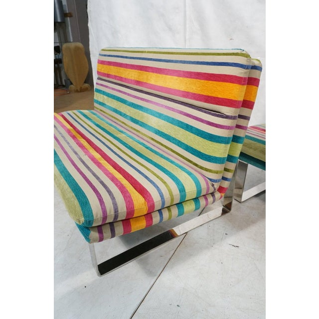 Metal Set of 2 Kho Liang Ie for Artifort Awning Striped Chenille Sofas For Sale - Image 7 of 8