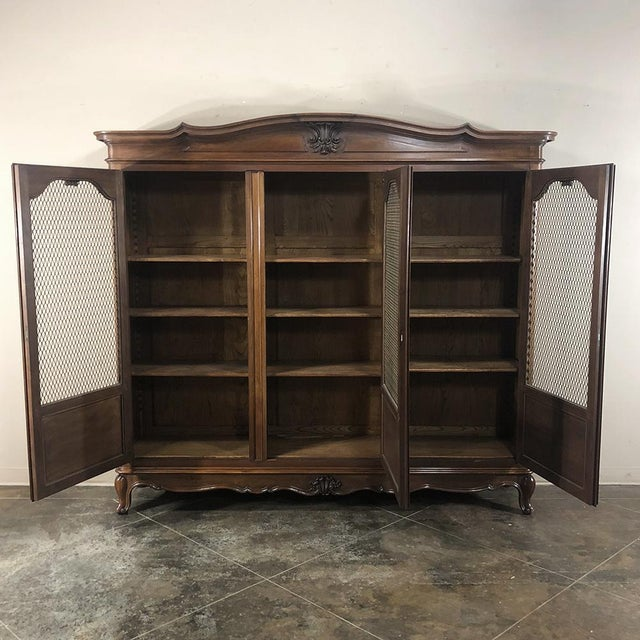 Antique Italian Walnut Piemontese Triple Bookcase For Sale - Image 11 of 13