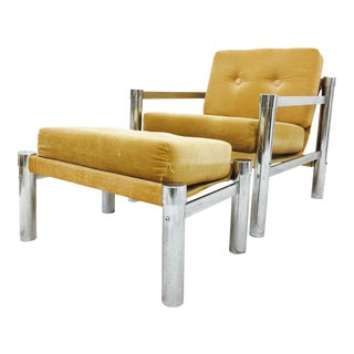 Vintage Mid-Century Modern Tubular Chrome Lounge Chair & Ottoman