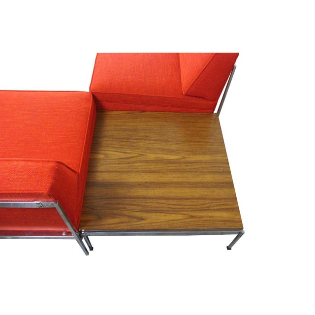 Mid 20th Century Mid-Century Modern Robert John Company Two Piece Chrome Sectional with Attached Side Table For Sale - Image 5 of 11