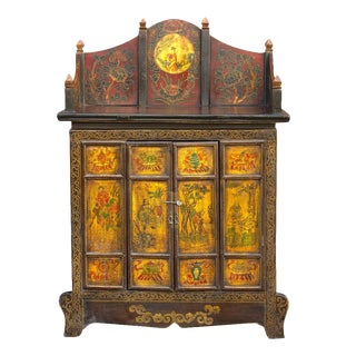 19th Century Tibetan Hand Painted Cabinet For Sale