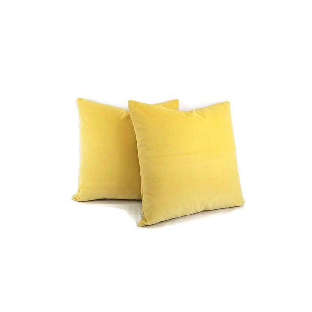 Soft velvet solid color yellow fabric crafted into a beautiful throw pillow. This velvet is short haired and heavyweight...