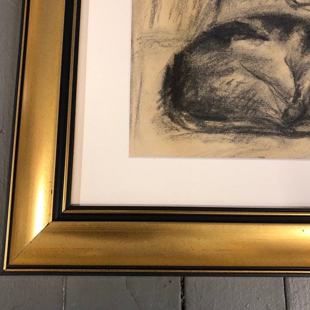 Expressionism Vintage Original Charcoal Resting Cat Drawing Framed For Sale - Image 3 of 5