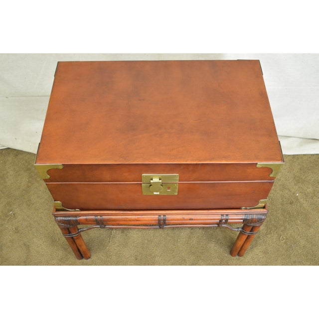 Brown Craftwork Gilt Campaign Style Lidded Accent Chest on Bamboo Frame For Sale - Image 8 of 10