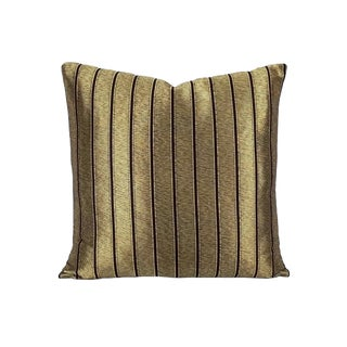 Ralph Lauren Ellington Stripe Tarnished Gold Pillow Cover For Sale