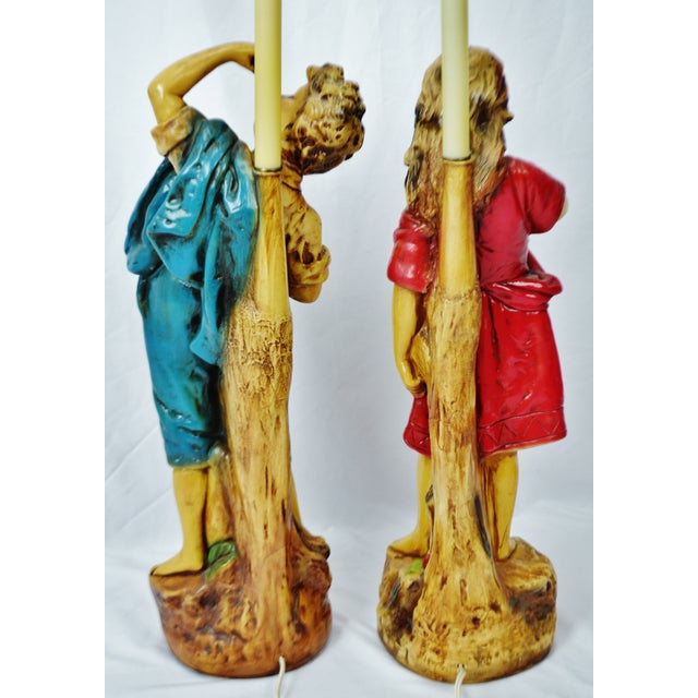 Vintage Figural Chalkware Table Lamps Cherry Boy and Bashful Girl - a Pair For Sale - Image 10 of 13