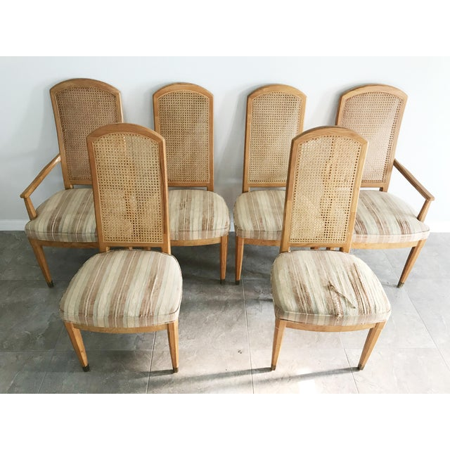This vintage set of six dining chairs from Henredon would be the perfect vintage touch to any dining room. The seats are...