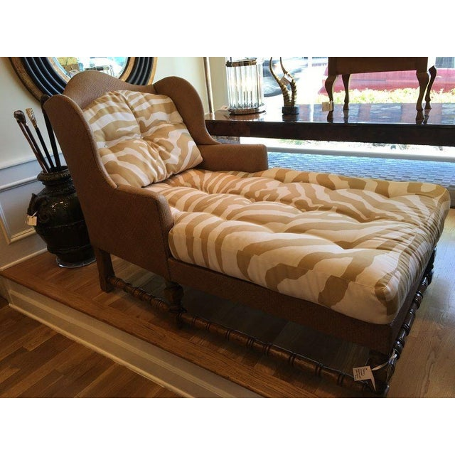 Wingback Chaise in Scalamandre Zebra - Image 2 of 3