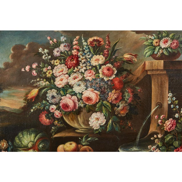 Mid 19th Century Pair of 19th Century Italian School Still Life Large Oil-On-Canvas Painting within a Giltwood Frame For Sale - Image 5 of 10