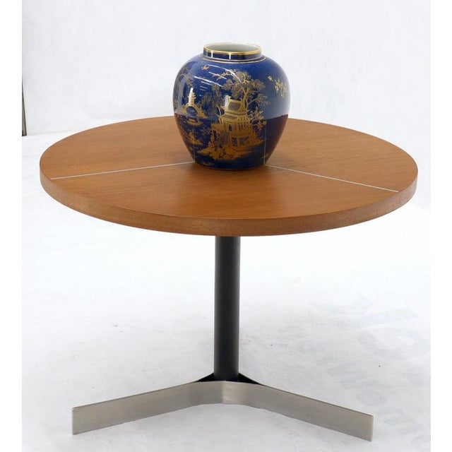 Aluminum Inlay Walnut Top Tri Legged Side End Table For Sale - Image 9 of 12