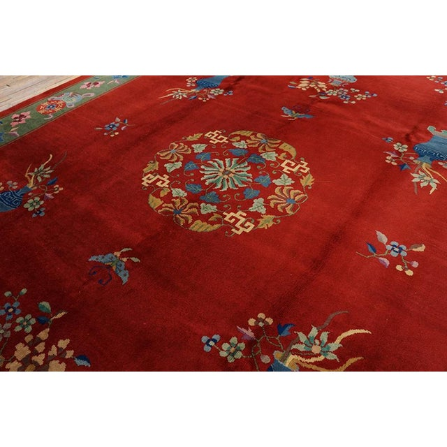 """1930s Chinese Art Deco Rug - 9'x11'9"""" For Sale - Image 4 of 7"""