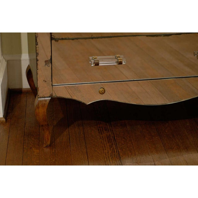 Brass Mirrored Art Deco Three Drawer Chest with Brass Accents For Sale - Image 7 of 9