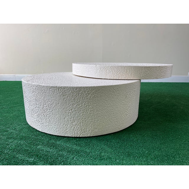 Modern 1990s White Circular Swivel Top Coffee Table For Sale - Image 3 of 7