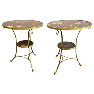 Pair of Hollywood Regency Marble-Top Bronze Bouillotte Tables End/Side Tables For Sale