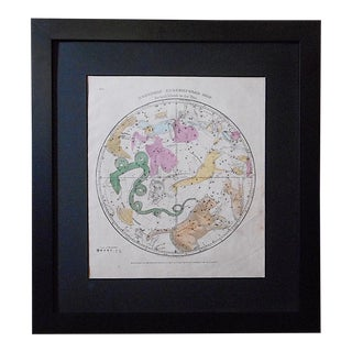 Astronomy-Antique Celestial Map/Chart-Northern Constellations & the Zodiac-Framed For Sale