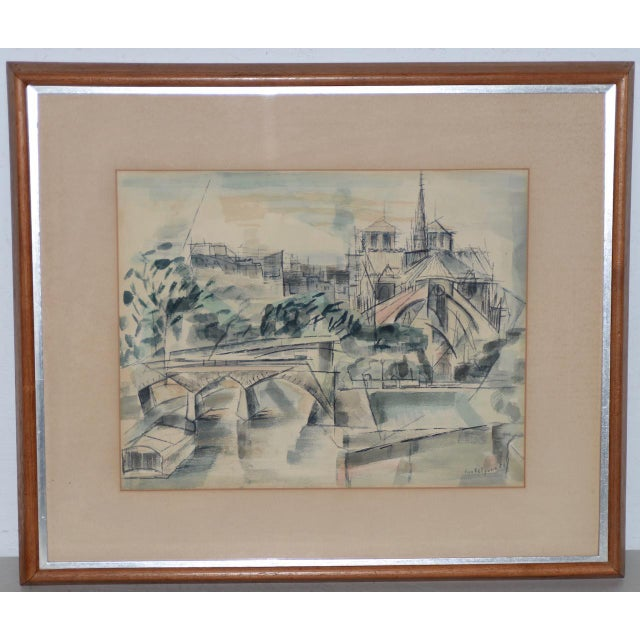 """1954 """"Notre-Dame De Paris Cathedral"""" Watercolor Painting by Riva Helfond For Sale - Image 10 of 10"""