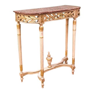 Late 19th Century Gilt French Marble Top Table For Sale