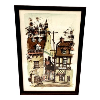 Mid-Century Small Town in Quebec Lithograph Print For Sale