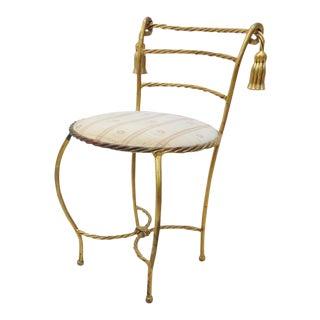 Hollywood Regency Gold Tassel Vanity Bench For Sale