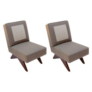 Adesso Imports Gray and Brown Wool Upholstered Club Chairs - a Pair For Sale