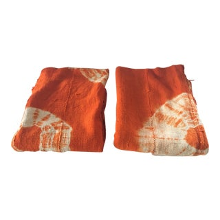 "Bogolan Textile Mud Cloth Orange & White 40"" by 60"" Set of Two For Sale"