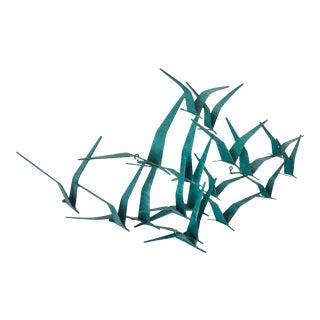 1980s Metal Birds Jeré Wall Sculpture Verdigris For Sale