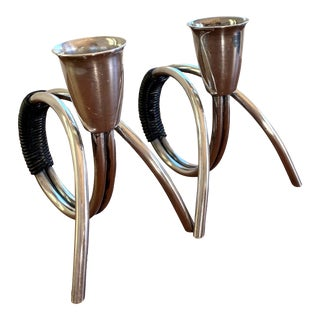 Carl Christansen Danish Modern Silver Plated Candleholders for Small Tapers - a Pair For Sale