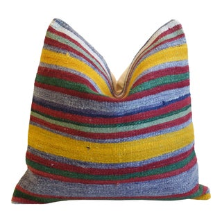 "Colorful Striped Wool Rug Carpet Feather/Down Pillow 20"" Square For Sale"