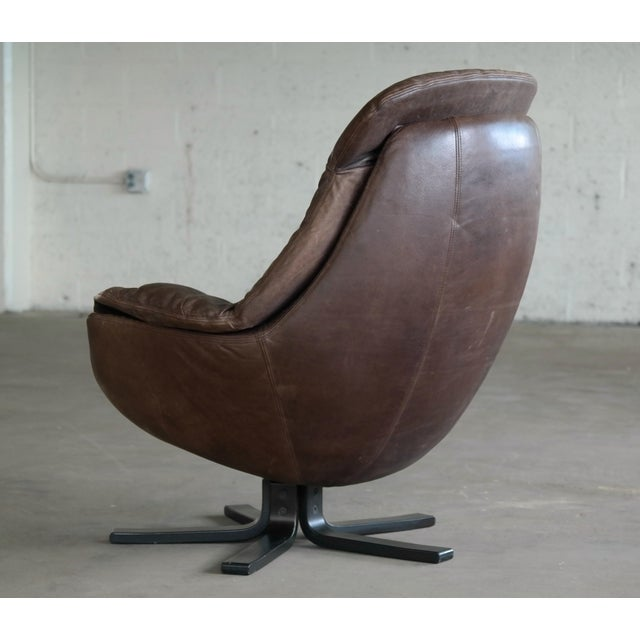 Danish Mid-Century Brown Leather Egg Chair with Ottoman by H. W. Klein For Sale - Image 9 of 13
