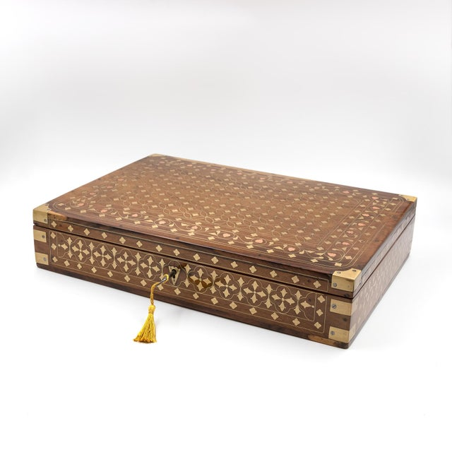 Anglo Indian Teak Box With Brass Inlay, India, Circa 1860 For Sale In San Francisco - Image 6 of 11
