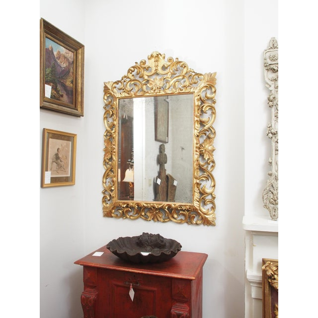 Gold LARGE GILDED AND PIERCED CUSHION MIRROR For Sale - Image 8 of 8