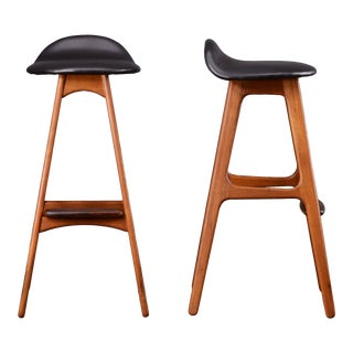 1960s Mid Century Danish Modern Teak and Black Erik Buch Model 61 Barstools - a Pair For Sale