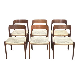 1960s Vintage Moller Danish Cord Dining Chairs- Set of 6 For Sale
