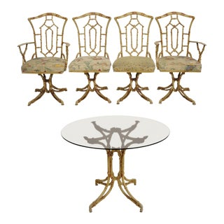 Chinese Chippendale Metal Faux Bamboo 5 Pc Dining Set For Sale